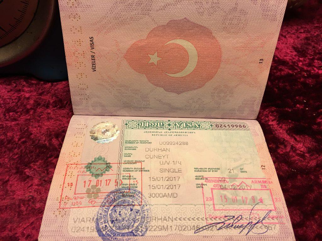Ermenistan vizesi pasaportta mührü görebilirsiniz