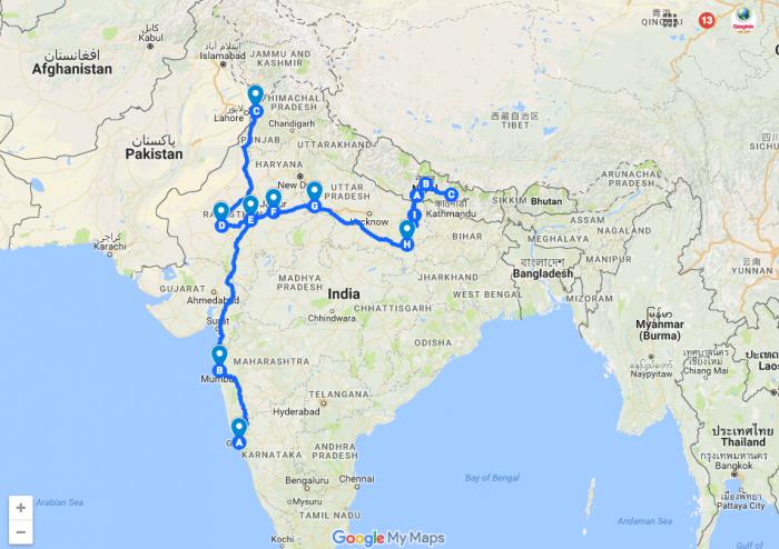 2 aylık Hindistan Nepal gezi rotam