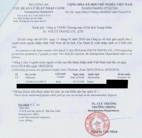 Vietnam vizesi için turizm acentasından gelen davetiye